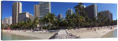 Honolulu Panoramic Skyline Cityscape (Beach) Canvas Print #6028