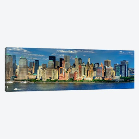 New York Panoramic Skyline Cityscape (Manhattan) Canvas Print #6032} by Unknown Artist Canvas Wall Art