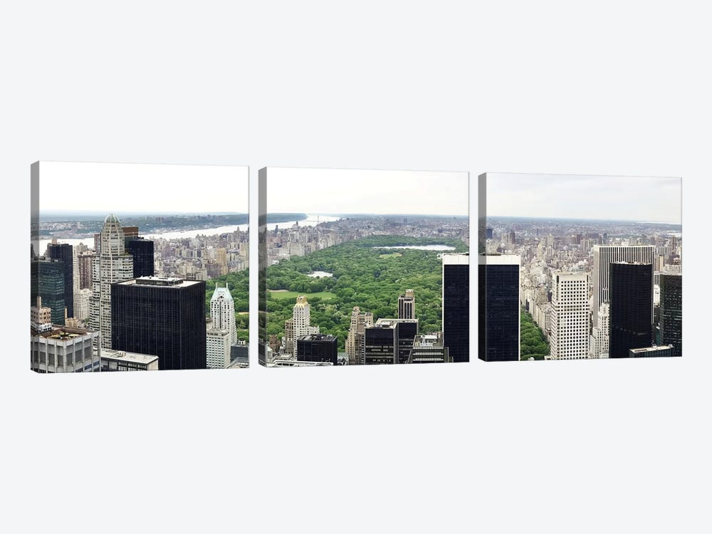 New York Panoramic Skyline Cityscape (Manhattan - Central Park) by Unknown Artist 3-piece Canvas Art Print