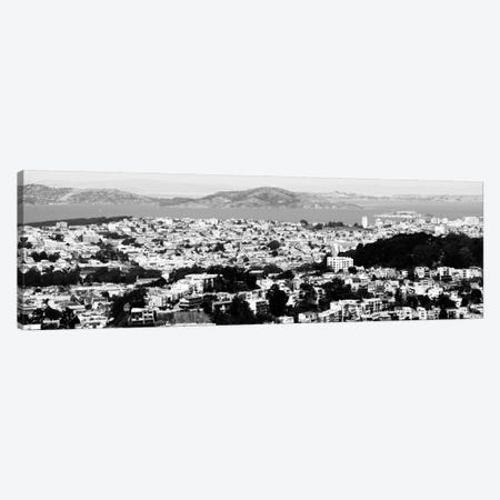 San Francisco Panoramic Skyline Cityscape (Black & White) Canvas Print #6036} Art Print