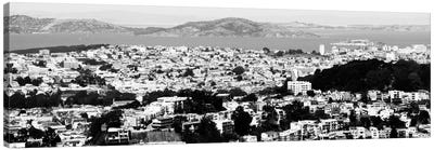San Francisco Panoramic Skyline Cityscape (Black & White) Canvas Print #6036