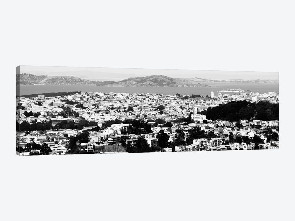 San Francisco Panoramic Skyline Cityscape (Black & White) by Unknown Artist 1-piece Art Print