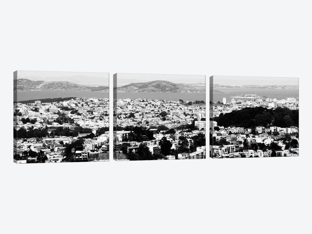 San Francisco Panoramic Skyline Cityscape (Black & White) by Unknown Artist 3-piece Canvas Print
