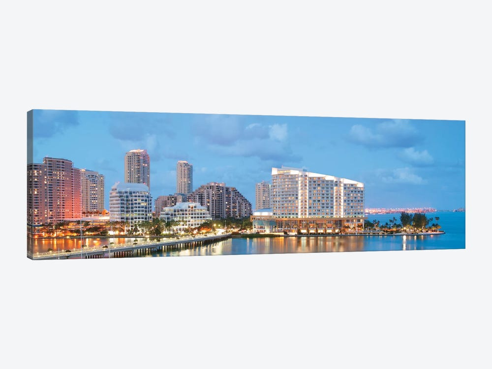 Miami Panoramic Skyline Cityscape (Evening) by Unknown Artist 1-piece Canvas Print