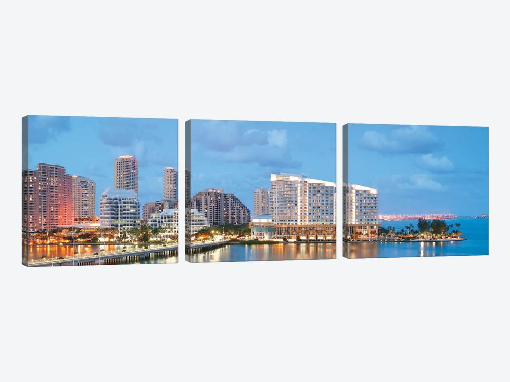 Miami Panoramic Skyline Cityscape (Evening) by Unknown Artist 3-piece Canvas Print