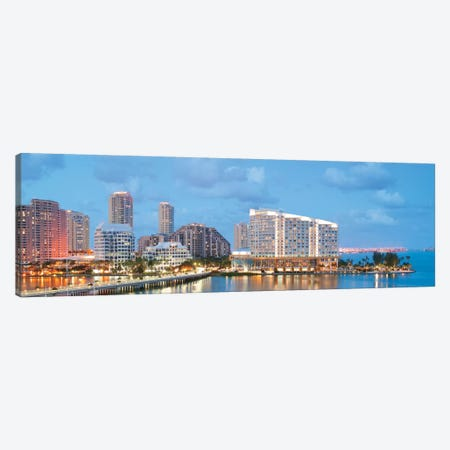 Miami Panoramic Skyline Cityscape (Evening) Canvas Print #6041} by Unknown Artist Canvas Art Print