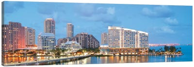 Miami Panoramic Skyline Cityscape (Evening) Canvas Art Print