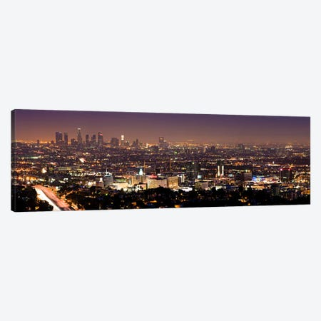 Los Angeles Panoramic Skyline Cityscape (Night View) Canvas Print #6044} Canvas Wall Art