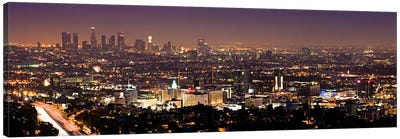 Los Angeles Panoramic Skyline Cityscape (Night View) Canvas Art Print