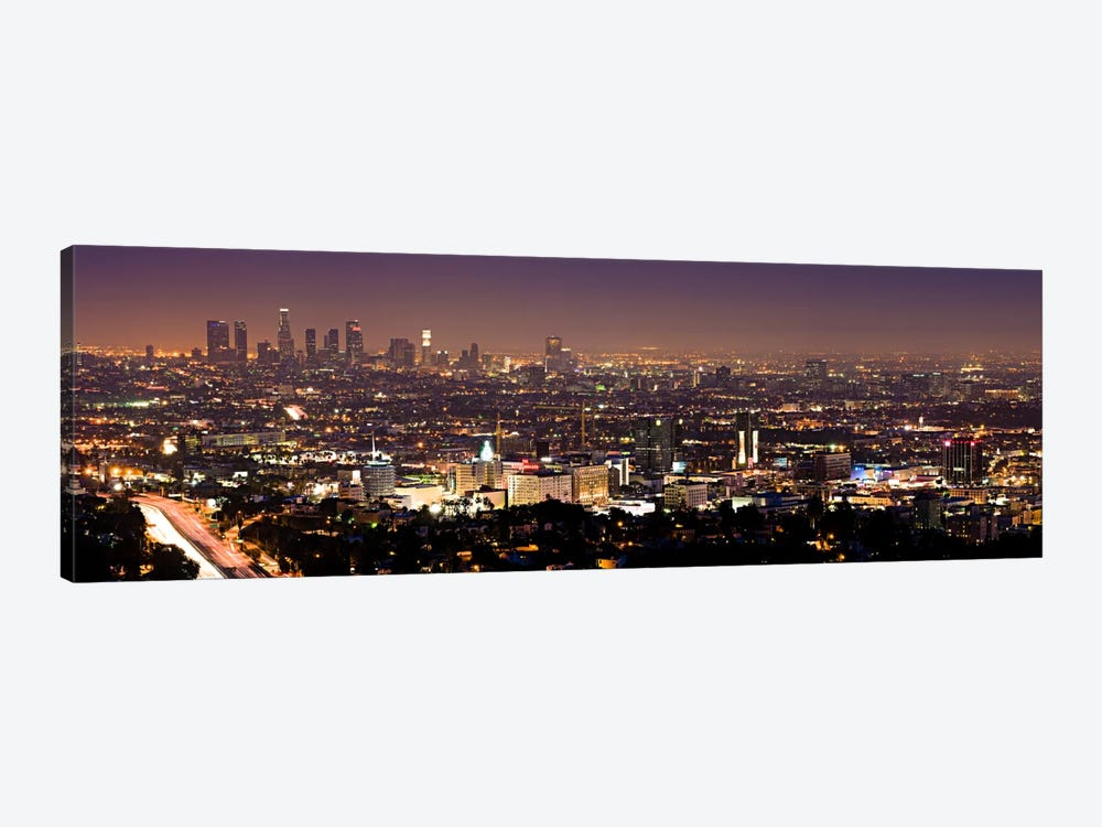 Los Angeles Panoramic Skyline Cityscape (Night View) 1-piece Canvas Artwork