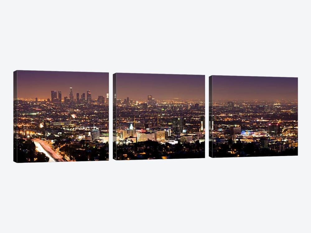 Los Angeles Panoramic Skyline Cityscape (Night View) by Unknown Artist 3-piece Canvas Art