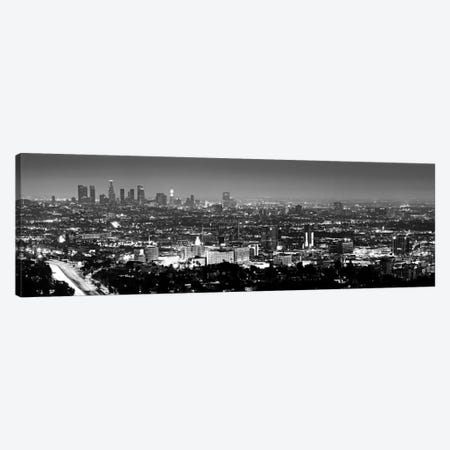 Los Angeles Panoramic Skyline Cityscape (Black & White - Night View) Canvas Print #6045} Canvas Artwork