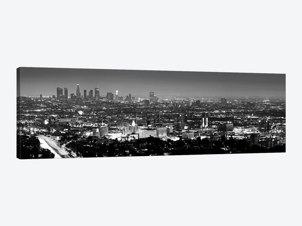 Los Angeles Panoramic Skyline Cityscape (Black & White - Night View) by Unknown Artist 1-piece Art Print