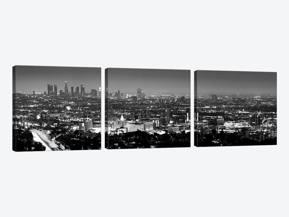 Los Angeles Panoramic Skyline Cityscape (Black & White - Night View) 3-piece Canvas Art Print