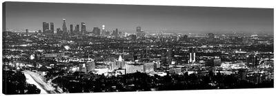 Los Angeles Panoramic Skyline Cityscape (Black & White - Night View) Canvas Art Print