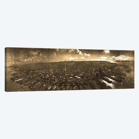 San Francisco Panoramic Skyline Cityscape (Sepia) Canvas Print #6046} by Unknown Artist Canvas Artwork