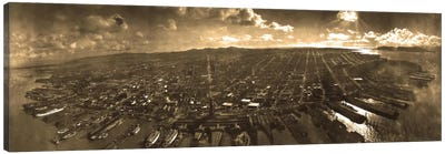 San Francisco Panoramic Skyline Cityscape (Sepia) Canvas Art Print