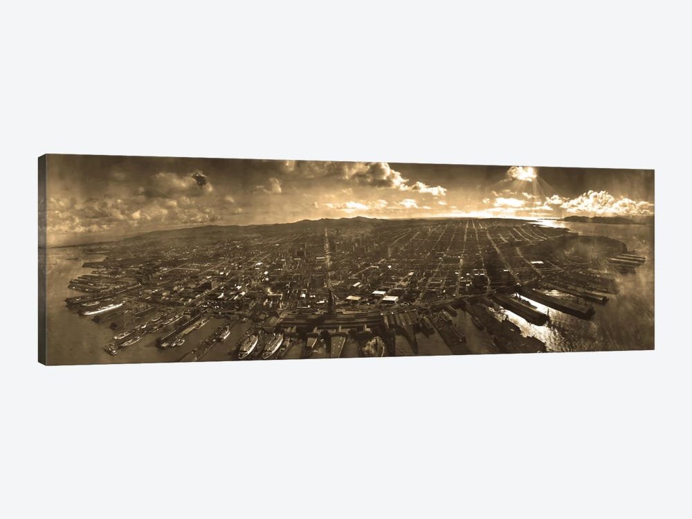 San Francisco Panoramic Skyline Cityscape (Sepia) by Unknown Artist 1-piece Canvas Wall Art