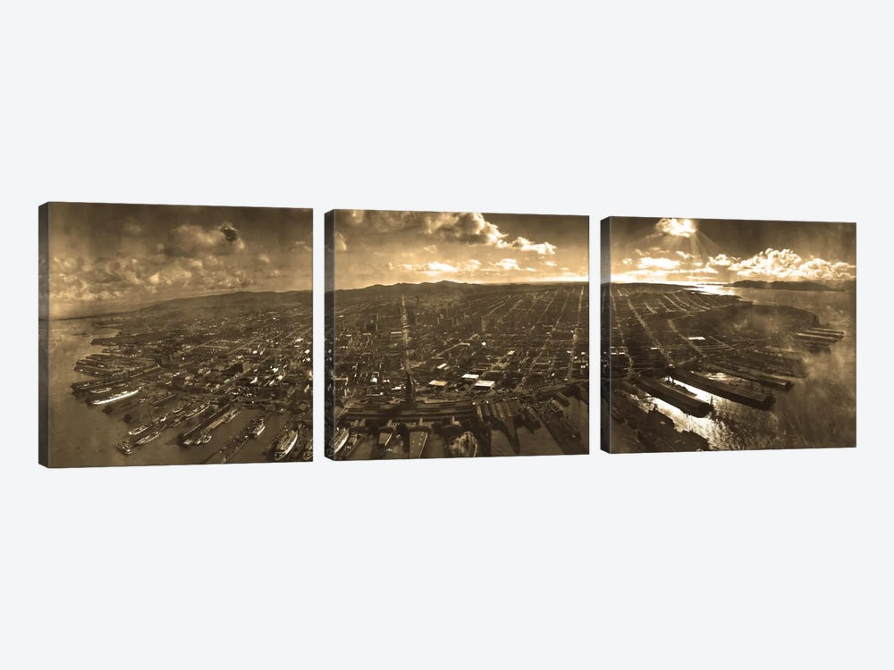 San Francisco Panoramic Skyline Cityscape (Sepia) by Unknown Artist 3-piece Canvas Art