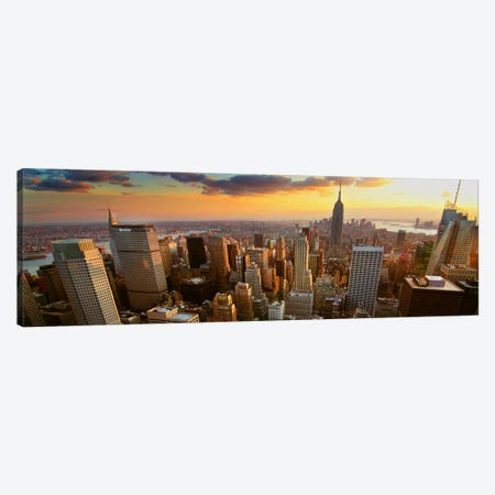 New York Panoramic Skyline Cityscape (Sunset) Canvas Print #6047} Canvas Art