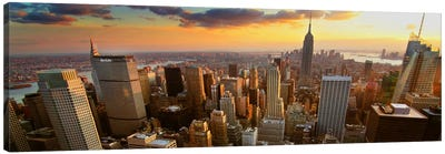 New York Panoramic Skyline Cityscape (Sunset) Canvas Print #6047