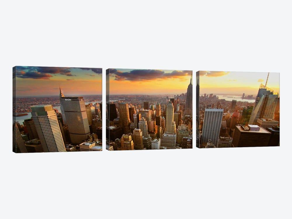 New York Panoramic Skyline Cityscape (Sunset) by Unknown Artist 3-piece Art Print