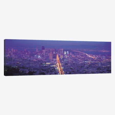 San Francisco Panoramic Skyline Cityscape (Sunset) Canvas Print #6049} Canvas Print