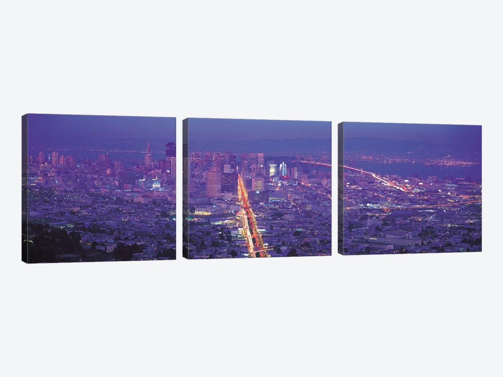 San Francisco Panoramic Skyline Cityscape (Sunset) by Unknown Artist 3-piece Canvas Art Print