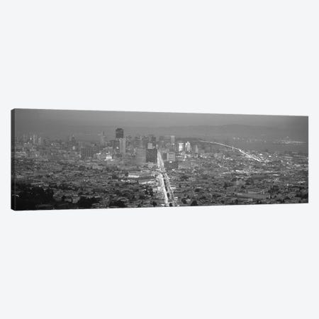 San Francisco Panoramic Skyline Cityscape (Sunset Black & White) Canvas Print #6051} Canvas Art