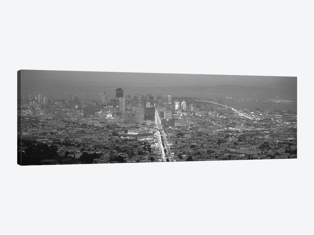 San Francisco Panoramic Skyline Cityscape (Sunset Black & White) 1-piece Canvas Artwork