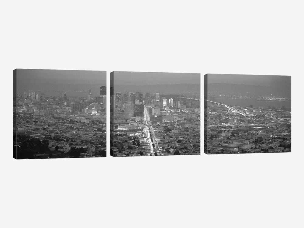 San Francisco Panoramic Skyline Cityscape (Sunset Black & White) 3-piece Canvas Artwork