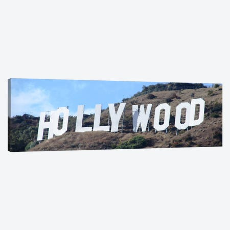 Hollywood Panoramic Skyline Cityscape (Sign) Canvas Print #6052} Canvas Art