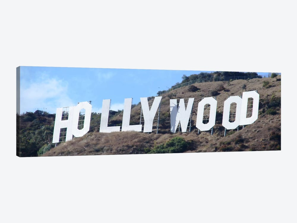 Hollywood Panoramic Skyline Cityscape (Sign) 1-piece Canvas Art Print