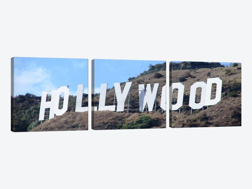 Hollywood Panoramic Skyline Cityscape (Sign) by Unknown Artist 3-piece Canvas Art Print