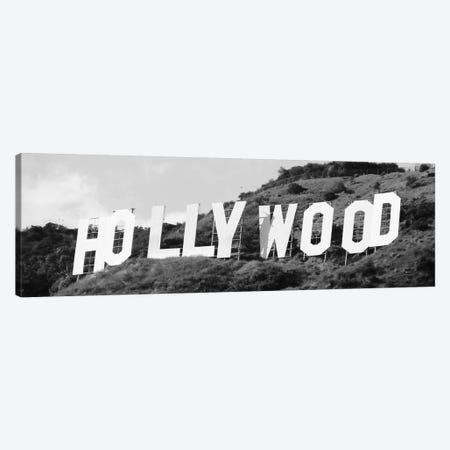 Hollywood Panoramic Skyline Cityscape (Black & White - Sign) Canvas Print #6053} Canvas Artwork