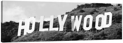 Hollywood Panoramic Skyline Cityscape (Black & White - Sign) Canvas Artwork