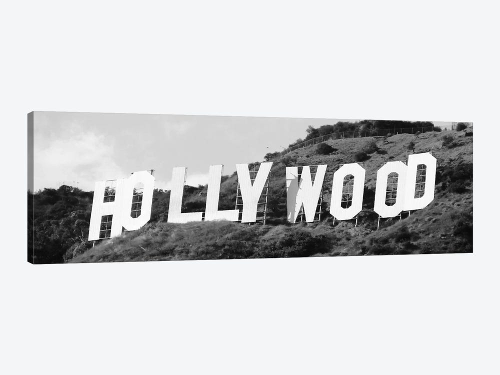 Hollywood Panoramic Skyline Cityscape (Black & White - Sign) 1-piece Canvas Wall Art