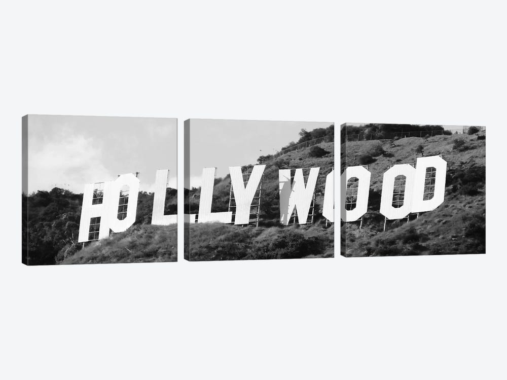 Hollywood Panoramic Skyline Cityscape (Black & White - Sign) 3-piece Canvas Art