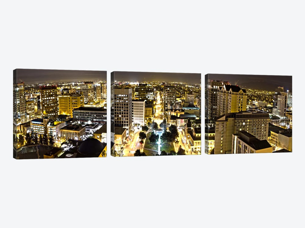 San Jose Panoramic Skyline Cityscape (Night View) by Unknown Artist 3-piece Canvas Artwork