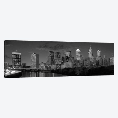 Philadelphia Panoramic Skyline Cityscape (Black & White) Canvas Print #6056} Art Print