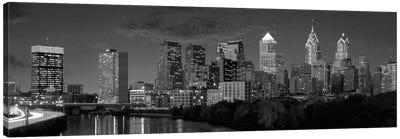 Philadelphia Panoramic Skyline Cityscape (Black & White) Canvas Print #6056