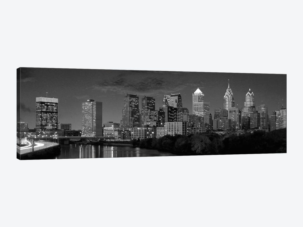 Philadelphia Panoramic Skyline Cityscape (Black & White) by Unknown Artist 1-piece Canvas Print