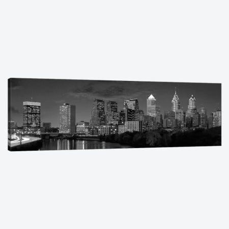 Philadelphia Panoramic Skyline Cityscape (Black & White) Canvas Print #6056} by Unknown Artist Art Print