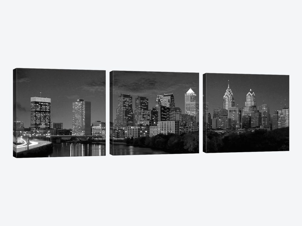 Philadelphia Panoramic Skyline Cityscape (Black & White) by Unknown Artist 3-piece Art Print