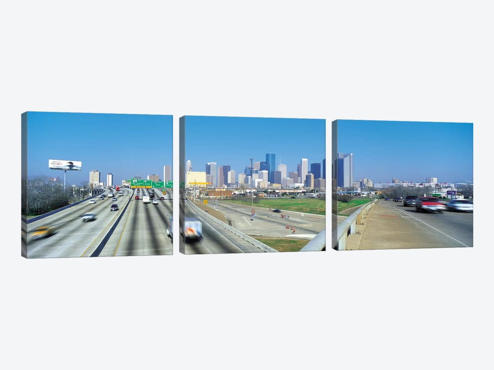 Houston Panoramic Skyline Cityscape 3-piece Canvas Wall Art