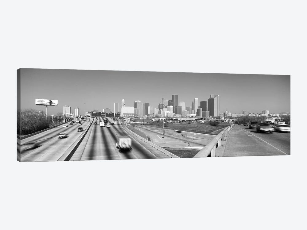 Houston Panoramic Skyline Cityscape (Black & White) 1-piece Canvas Print