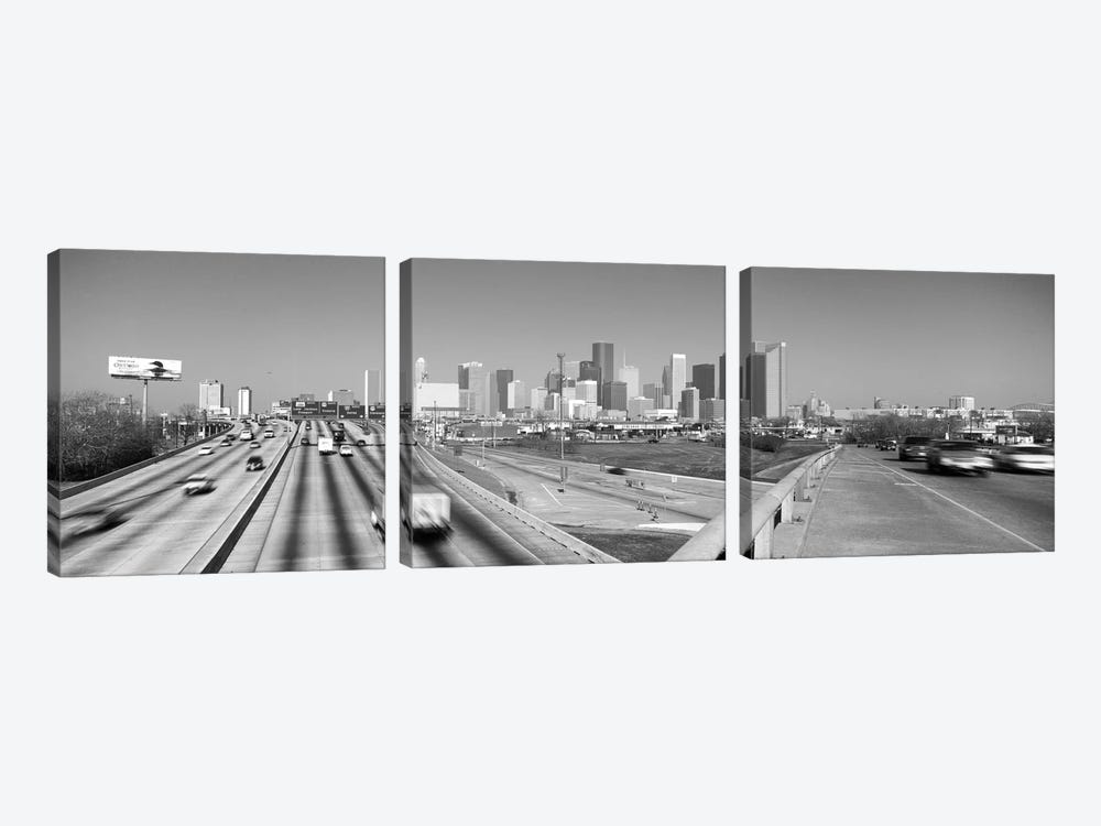 Houston Panoramic Skyline Cityscape (Black & White) 3-piece Canvas Print
