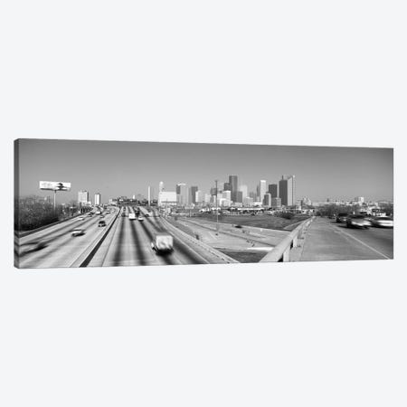 Houston Panoramic Skyline Cityscape (Black & White) Canvas Print #6058} by Unknown Artist Canvas Wall Art