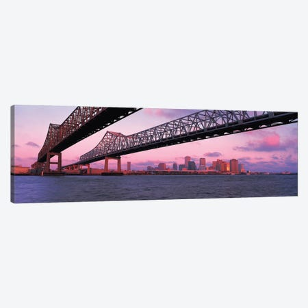 Nola Panoramic Skyline Cityscape (Bridge - Sunset) Canvas Print #6059} by Unknown Artist Canvas Artwork