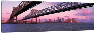 Nola Panoramic Skyline Cityscape (Bridge - Sunset) Canvas Print #6059